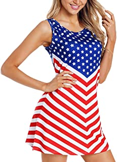 JULYKI 4th July Women American USA Flag Dress Stars and Stripes Sleeveless Mini Tank Dress Patriotic Clothes