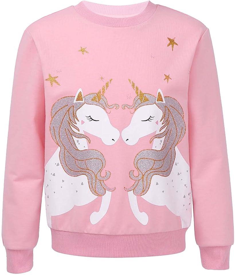 Mädchen Sweatshirt für Kinder Baumwolle Top Casual Jumper Kleinkind Einhörner Pferd Druck Langarmshirt Pullover 2 3 4 5 6 7 8 9 10 12 Jahre alt