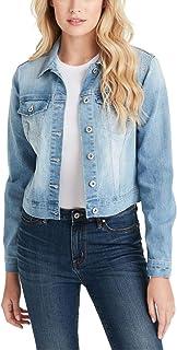 Jessica Simpson womens Pixie Classic Feminine Crop Fit Denim Jacket Denim Jacket