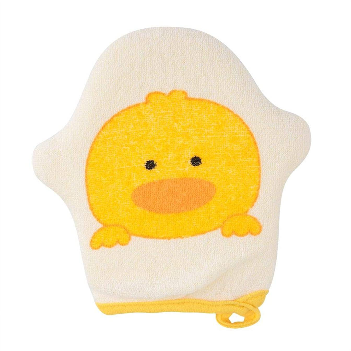 一致神一節シャワースポンジ シャワー手袋 垢すり手袋 ボディースポンジ 浴用手袋 赤ちゃん ベビー 両面用 入浴用 シャワーブラシ 入浴用品 お風呂用 バス用品 柔らかい 動物柄 かわいい オシャレ(イエロー)