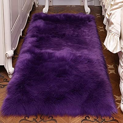 Balscw Faux Leather Rug Lamb Soft Faux Fur Lamb Sheep Non-Slip Rug Faux Sheepskin Rug Odorless Washable Imitation Fur,Purple-100×180cm/3.2×5.9ft