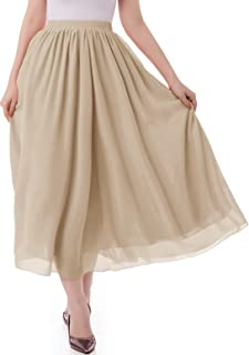 Women's Long Chiffon Skirt Pleated Retro Beach Skirts A-Line Maxi Dress