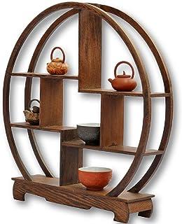 【VICHE CATT】 中国 茶器 香炉 盆栽 花瓶 台 棚 花台 木製 和風 モダン アンティーク ディスプレイ ウッド ラック 家具 オブジェ (丸型, 30)