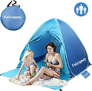 Felicigeely Beach Tent,UPF 50+ Portable Pop up Sun Shelter with Carry Bag,Automatic Instant Baby Beach Tent Beach Sun Shade Fit for 2-3 Person
