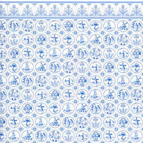 Melody Jane Puppenhaus Miniatur Druck 1:12 Maßstab Dutch Blau Weiß Delft Fliesen Tapete