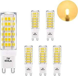 Super Bright 7W G9 GU9 Miniature LED Light Bulbs Capsule Corn Lamp Bulbs Warm White 3000K 600Lm AC110-120V Replace 60W G9 Halogen Light Bulb 6 Pack by Enuotek