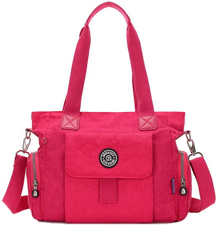AllhqFashion Women's Shopping Zippers Nylon Tote Bags Casual Crossbody Bags,FBUBC218381