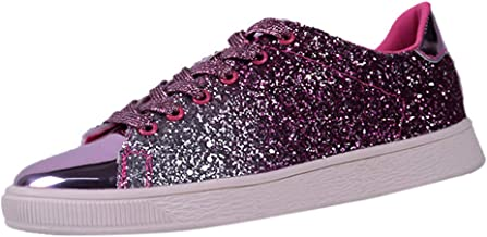 cobcob Women's Sneaker,Ladies Lace Up Sequins Solid Color Lightweight Sport Running Nightclub Shoes