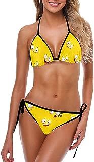 INTERESTPRINT Women's Bikini Swimsuit Halter Strap Tie Back Swimwear 2 Pieces Sets Funny Facial Expressions