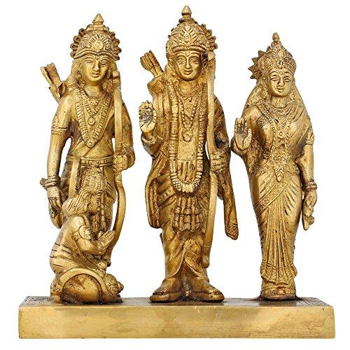Shalinindia Durbar De Rama Sita Lakshman Et Hanuman Puja Hindou Statue en Laiton 20,32 Cm