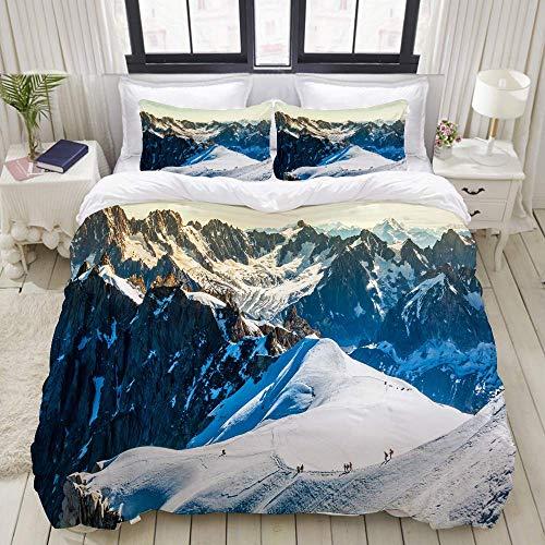 Funda nórdica, Mont Blanc Chamonix Alpes franceses Francia Europa Turistas Escalada de montaña, Juego de Ropa de Cama Ultra Cómodo Ligero de Lujo Juegos de Fundas de edredón de poliéster