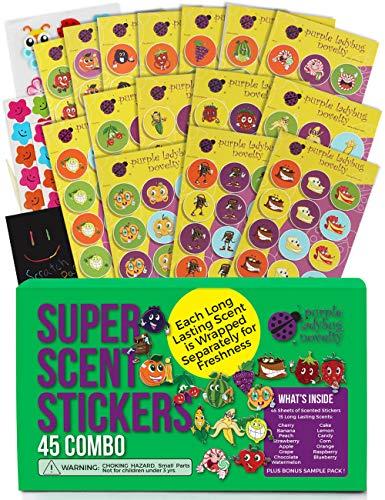 Duftende Stickers / Aufkleber von Purple Ladybug! Megaset aus 45 Bögen mit Lustigen Duftstickern für Lehrer und Kinder - 15 Verschiedenen Düfte wie Erdbeere, Zitrone uvm.