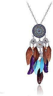 Lureme Women Silver Tone Native American Dream Catcher Colorful Feather Pendant Necklace