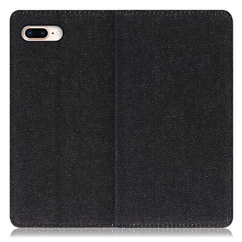 LOOF Denim iPhone 7 Plus / 8 Plus ケース 手帳型 カバー スマホケース デニム生地 横入れ カード収納付 スタンド機能付 パス入れ 手帳型ケース 手帳型カバー ベルトなし おしゃれ シンプル ブランド (ブラック)