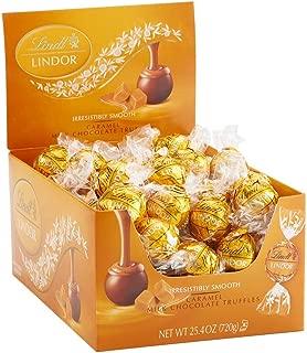 Lindt LINDOR Caramel Milk Chocolate Truffles Kosher Candy Chocolates, 60 Count Box, 25.4 Ounce