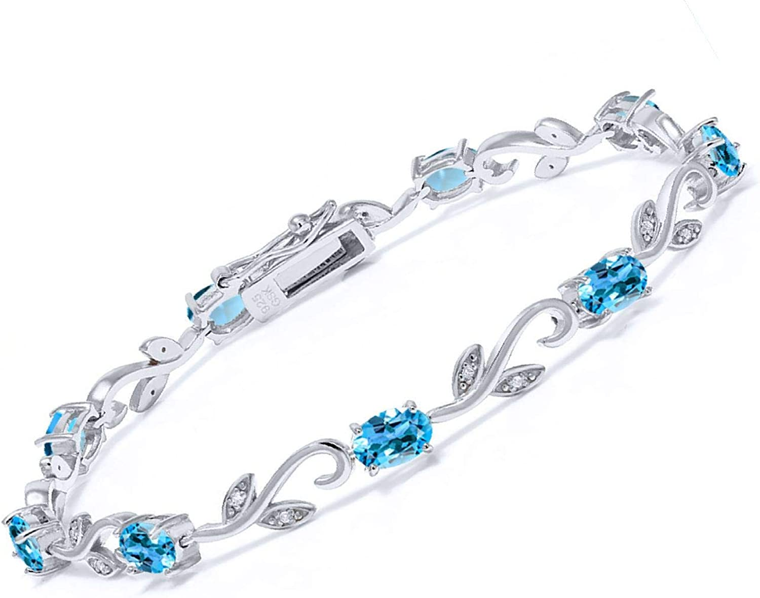 Gem Stone King 925 Sterling Silver and Diamond Topaz Bombing new work Challenge the lowest price of Japan Swiss Blue