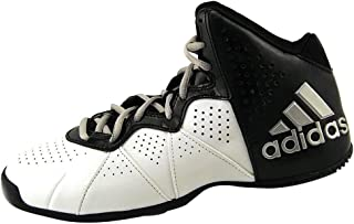 adidas? Men's Pro Smooth Feather Basketball Mid (8.5 D(M) US, White/Black/Silver Trim)