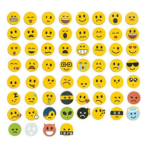EAST-WEST Trading GmbH Jumbo-Set 120tlg, Emoji Emoticon Smile Lachgesichter Magnete, 60 unterschiedliche Emojis + 60 Emoji Aufkleber