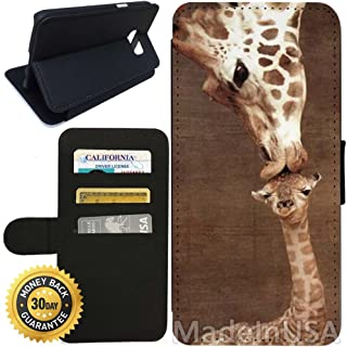Flip Wallet Case for Galaxy S7 (Giraffe) with Adjustable Stand and 3 Card Holders | Shock Protection | Lightweight | Includes Stylus Pen by Innosub