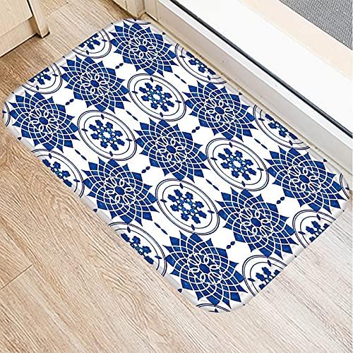 OPLJ Alfombra de Puerta de Entrada de Cocina de Porcelana Azul y Blanca, Alfombrillas de Interior Coloridas, Alfombra Antideslizante A10 40x60cm