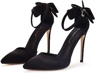 Women's Court Shoes,High Heels Bridal Shoes,11cm Temperament sexy Satin Stiletto Heel Pumps Wedding shoes Mary Jane Pumps,Clubbing Evening Wedding Party Dress Bridesmaid shoes,Black,41 EU