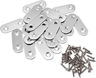 Hysagtek 20 Pcs Flat Corner Brace Plates Metal Joining Plates Connector Repair Bracket with Fixing Screws,40 X 16mm, 2 Holes,Stainless Steel, Silver Color
