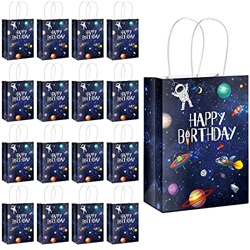 16 Pack Outer Space Party Present Bags Treat Bags with Handles Kraft Paper...