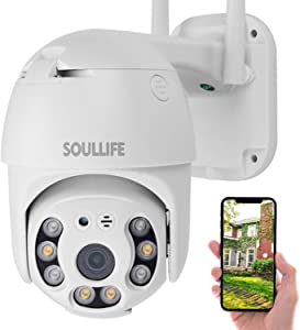 Security Camera Outdoor, PT Camera Outdoor, SoulLife 1080P Pan Tilt WiFi Home Surveillance Camera with Waterproof Two Way Audio Color Night Vision Motion Detective