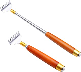 Back Scratcher Extendable, Metal Backscrathers for Women Men with Bead Roller Multi-Functional for Facial Neck Massage, 2Pack Stainless Steel Manual Back Massagers