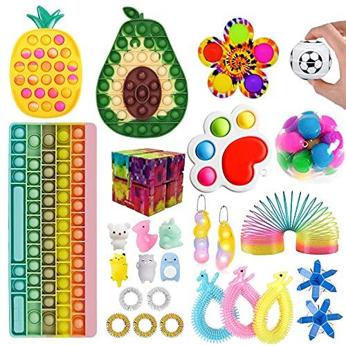 Fidget Toy Set Pop Fidget It Spielzeug, Pop Toy Bubble It Fidget-Spielzeug-Set mit mehreren Elementen Anti-Anxiety Tools Party Supplies for Kinder Erwachsene(Fidget Toy-6)