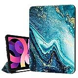 Hepix Schutzhülle für iPad 27,7 cm (10 Zoll) Air 4. Generation mit Stifthalter, dreifach faltbar, stoßfest, automatische Schlaf- & Weckfunktion, für A2072 A2316 A2324 A2325, Blaugrün