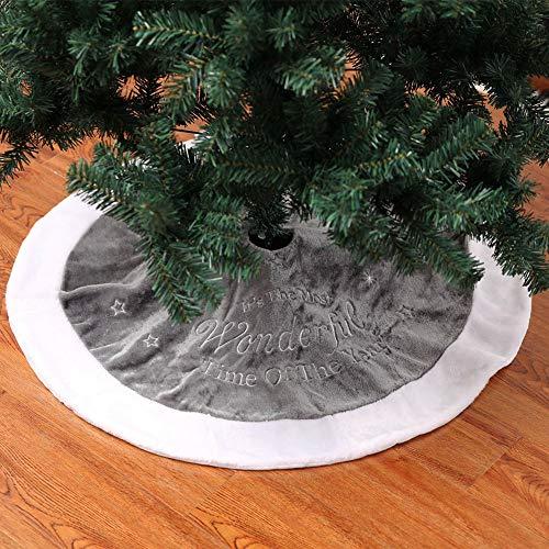 Deggodech 90cm Weihnachtsbaum Röcke Plüsch Weihnachtsbaum Rock Grau Weiß Kunstpelz Weihnachtsbaumdecke Fell Christbaumständer Teppich für Weihnachtsfeiertag Dekorationen (Grau, 90CM/35 Zoll)