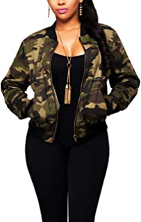 sexycherry Women Camo Casual Jacket Camouflage Long Sleeve Pockets Lightweight Army Military Zipper Coat