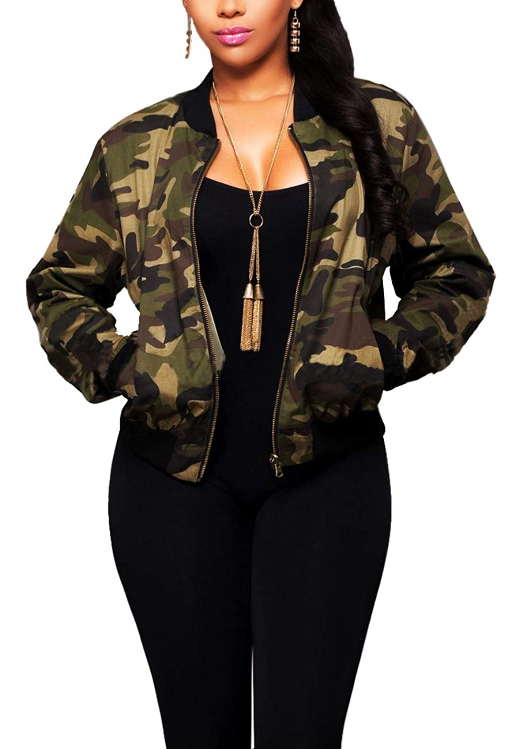 sexycherry Women Camo Casual Jacket Camouflage Sexy Long Sleeve Slim Fit Sequin Dress Lightweight Military Coat Pockets