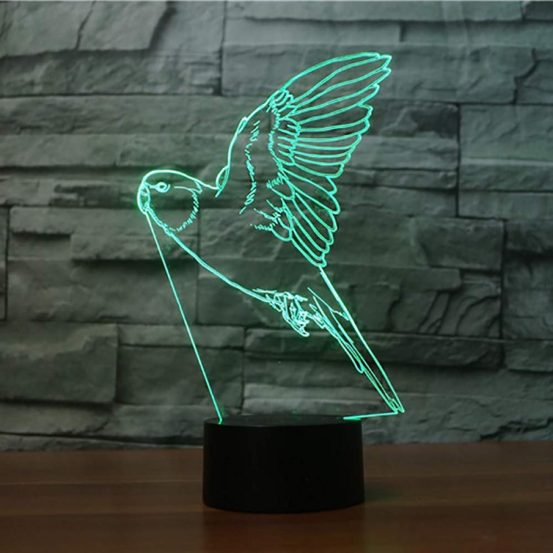 Laofan Led Visuelle 7 Farbwechsel Papagei Form 3D Nachtlicht USB Tisch Lampe Tier Vogel Baby Schlaf Beleuchtung,Remote und berühren