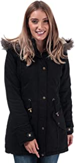 Brave Soul Womens Allure Padded Parka Jacket in Black.