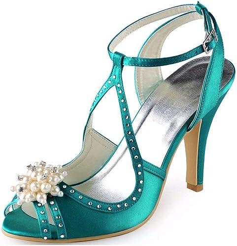 Qiusa Ladies T-Strap Designer Satin Nuptiale Sandales De Soirée Mariage (Couleuré   vert-7.5cm Heel, Taille   2 UK)