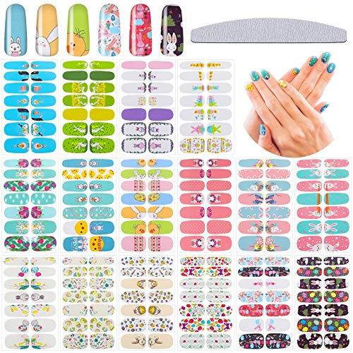 16 Sheets Easter Nail Wraps Easter Cartoon Nail Stickers Adhesive Nail Decals Strips Rabbit Chick Egg Nail Sticker Set with Nail File for Women Girls Easter Theme Nail Decoration
