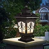 Luz, al Aire Libre Linterna de Vidrio Luz para Puerta de Villa Aluminio Tradicional Retro Jardín Impermeable Mesa de luz Columna Lámpara Luz para césped E27 Decoración de Paisaje Farola