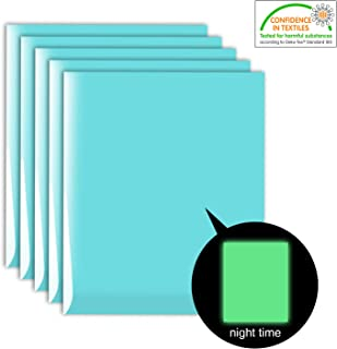5 Sheets Neon Glow in The Dark Iron-on Heat Transfer Vinyl, Neon Blue Glow Blue HTV Bundle (12 x 10 inches) for DIY Clothes Like T-Shirts Hats Helmet, Eco-Friendly Materials
