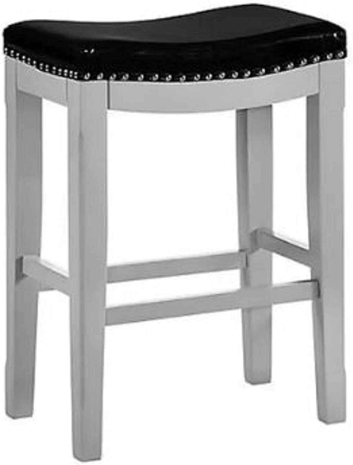 Backless Bar Stool. Classic Saddle Design Atticus 24  Backless Bar Stool Rich Faux Leather Upholstery with Nailhead Trim Winter Grey