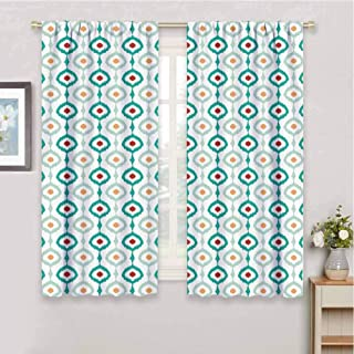 Ikat Decor Blackout Curtains-Gasket Pastel Colored Chain Ikat Vertical Pattern Abstract Ogee Shapes Retro Old Fashioned Thermal Insulated Curtains for Bedroom W85 x L85 Inch Multicolor