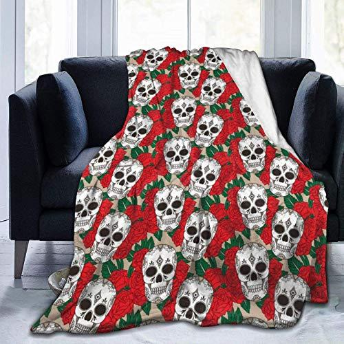 Manta de forro polar de franela de calavera de azúcar con flor de rosa roja,manta de microfibra cálida y cálida de felpa súper suave para sofá,cama,sofá,silla,fácil cuidado,uso en todas las estaciones
