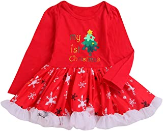 0-18 Months Baby My 1st Christmas Lace Tutu Princess Romper Dresses,Toddler Girls Cartoon Dress Party Costume Outfit