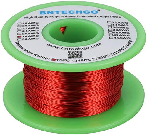 """BNTECHGO 28 AWG Magnet Wire - Enameled Copper Wire - Enameled Magnet Winding Wire - 4 oz - 0.0126"""" Diameter 1 Spool C..."""