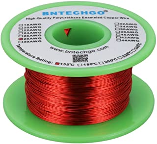 """BNTECHGO 28 AWG Magnet Wire - Enameled Copper Wire - Enameled Magnet Winding Wire - 4 oz - 0.0126"""" Diameter 1 Spool Coil R..."""