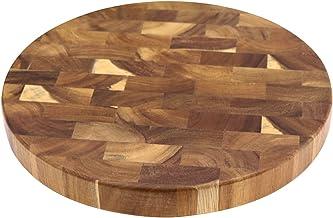 Houten uiteinde graan snijplanken houten slager blok vlees snijden hout dikke bord ronde hout hakplanken (Color : A)