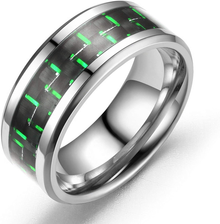 8mm Black Titanium Houston Mall Steel Ring Inlay Carbon Fiber Blue Red Green Store