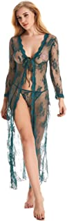 Sexy Nightgowns for Women, Upgraded Long Sheer Lace Kimono Robes Sleepwear, See Through Babydoll Lingerie Set