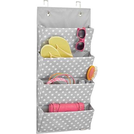 mDesign rangement suspendu avec 4 poches – meuble suspendu pour chaussures et vêtements – étagère suspendue pour la chambre à coucher – gris/blanc